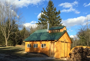 A small sugarhouse for maple syrup production on family farm